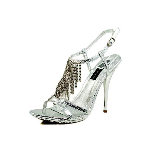 Celeste Women's Tao-02 Silver Dress Evening High Heel Shoes, Silver, 7