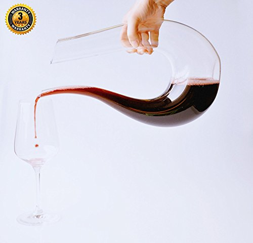 Horn Wine Decanter, U-Shaped Wine Gift, Great Table Centerpiece, Improves Wine Taste By Softening Tannins, 100% Lead Free Crystal, Elegant and Effective, Premium Crystal Glass By Miacooo (1500ML)