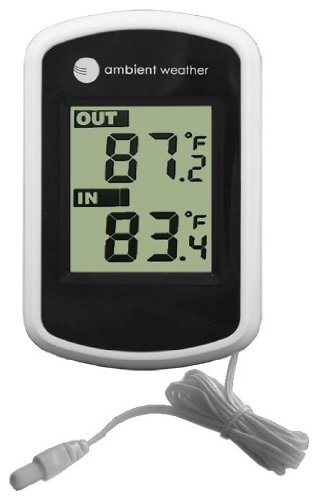 Ambient Weather Compact WS-02 Indoor/Outdoor Thermometer with Probe
