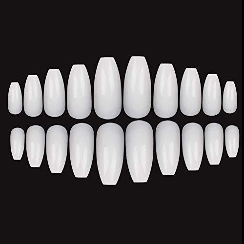 Juego de 600 uñas postizas de gel de uñas de bailarina artificiales, de larga duración, con punta de acrílico UV, transparentes, naturales, para salón de belleza, con 10 tamaños (color blanco)