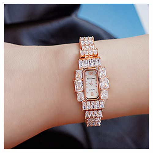 CHXISHOP Reloj de la Pulsera de Las Mujeres Reloj Cuadrado Gypsophila Moda Pulsera incrustada Zircon Fashion Watch Gold