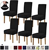 Lacoreka Dining Chair Cover Seat Slipcover Set of 6 Super Fit Stretch Removable Washable Parsons Short Chair Protector Covers for Kitchen,Hotel,Dining Room,Ceremony,Banquet Wedding (6 Pack, Black)