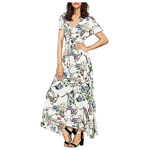 Vestidos Elegantes para Mujer Vestido Largo de Manga Corta con Cuello de Pico y Estampado Floral Vestido Suelto Ajustado de Cintura Alta Vestido Formal