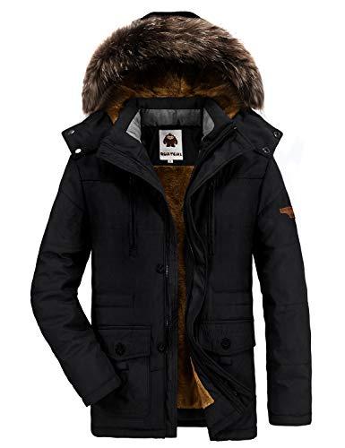 Yavero Winterjacke Herren Parka Gefüttert Baumwolle Mantel mit Pelzkragen Jacke Warm Outdoor Kapuzenjacke mit Fell Schwarz Small