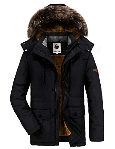 Yavero Winterjacke Herren Parka Gefüttert Baumwolle Mantel mit Pelzkragen Jacke Warm Outdoor Kapuzenjacke mit Fell Schwarz Large