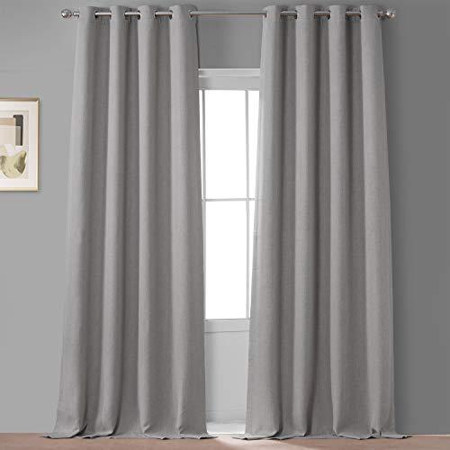 HPD Half Price Drapes VPCH-110602-96-GRBO Signature Grommet Blackout Velvet Curtain (1 Panel), 50 X 96, Porcelain White