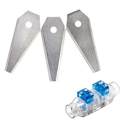 Bosch 3-tlg. Set Rasenmäher Messer (für Mähroboter Indego, Cutting blades 3x, im Karton) + Bosch 4 tlg. Kabelstecker (für Indego Rasenmäher)