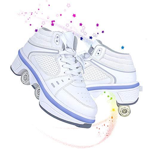 DLBJ Patín De Ruedas LED 2 En 1, Zapatos con Ruedas De Deformación con Ruedas, Zapatos con Ruedas con Luz Zapatillas De Deporte con Ruedas Recargables para Exteriores para Niñas,40