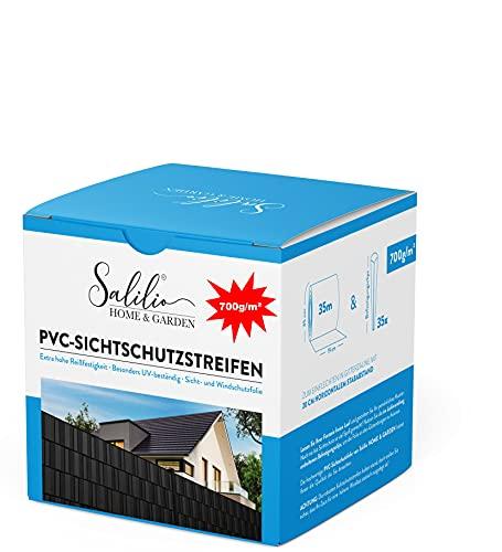 Salilio Zaun Sichtschutzstreifen für Doppelstabmatten - 35m 35Clips 700g Premium Doppelstabmattenzaun Sichtschutz für den Garten. Sichtschutz und Windschutz, Besonders...