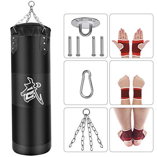Yueetc Punching Bag UNFILLED Set Kick Boxing Heavy MMA Training Punching Mitts Hanging Chain Muay Thai Martial Arts
