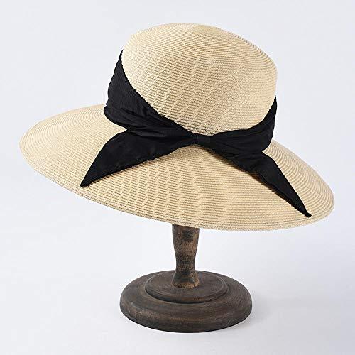KCJMM-HAT Parasol, UV-bescherming, strohoed, voor de zomer, dames, grote strik, vlinderdas vizier, papier, dun, strandhoed, opvouwbaar