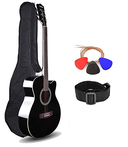 Kadence Frontier Series,Black Acoustic Guitar With Die Cast Keys Combo (Bag,strap,strings and 3 picks)