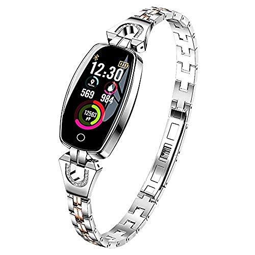Damen Smartwatch,Armkette Schmuck Diamant Fitness Armband,Mit Edelstahl Pulsmesser Sportmodus Schlafmonitor Wasserdicht Frauen Mode Elegant (Silber2)