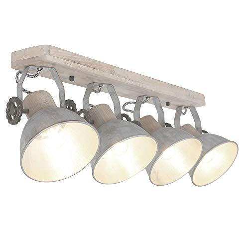 Lámpara de techo retro de madera plateada, foco de luz ajustable, para habitación de Steinhauer 2729NI