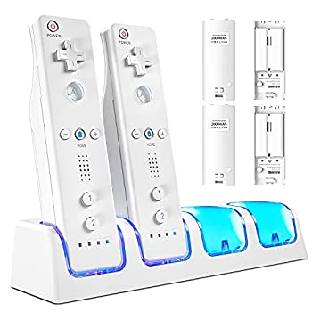 VOYEE Charger Station for Charging Wii Remote Controller with 4 Rechargeable 2800 mAh Battery Packs 4-in-1 Controller Charger Compatible with Nintendo Wii/Wii U Controller - White
