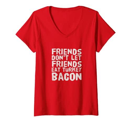 Mujer Pavo Bacon   Funny Bacon Camiseta Cuello V