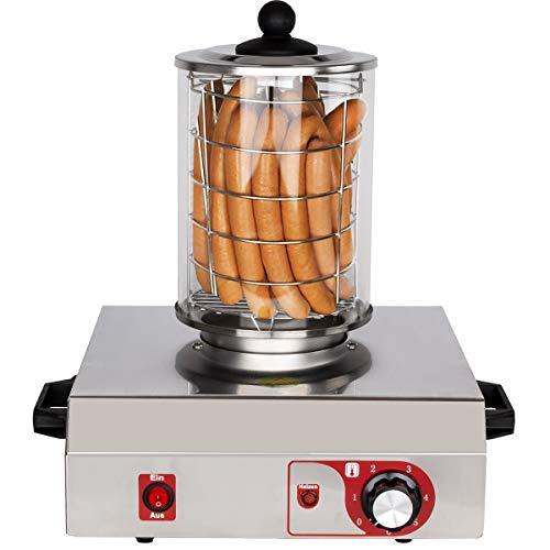 Beeketal 'BHG06a' Profi Gastro Hot Dog Maker mit 135 mm Korbdurchmesser, Edelstahl Hot Dog Maschine zum erhitzen von Würsten, schwere Edelstahl Ausführung mit Tragegriffen, Ausführung OHNE Heizspieße