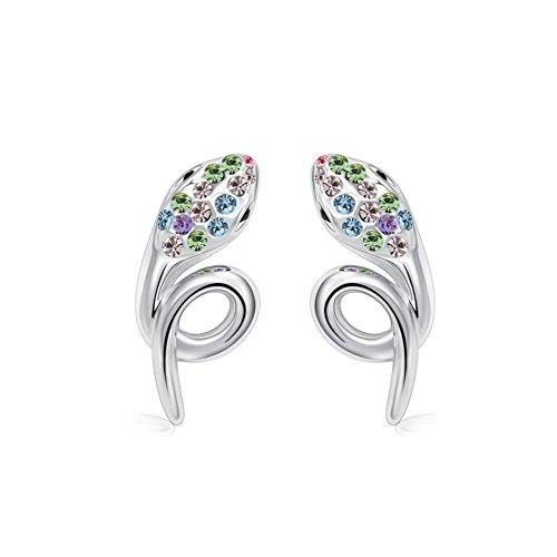 Winter's Secret Pendientes de tuerca de cristal de color serpiente, estereoscópico con detalles de diamante de plata