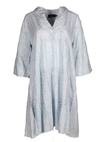 Zwillingsherz Freizeitkleid im Punkte Design – Hochwertiges Sommerkleid für Damen Frauen Mädchen - Abendkleid Strandkleid - Locker luftig - OneSize - Perfekt für Frühling Sommer und Herbst - blau