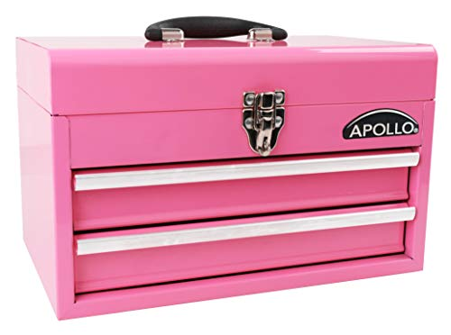 APOLLO TOOLS Pink Metal Tool Box with Deep Top Compartment and 2 Drawers in Heavy-Duty Steel Chest With Ball Bearing Opening And Powder Coated Finish - Pink Ribbon - DT5010P