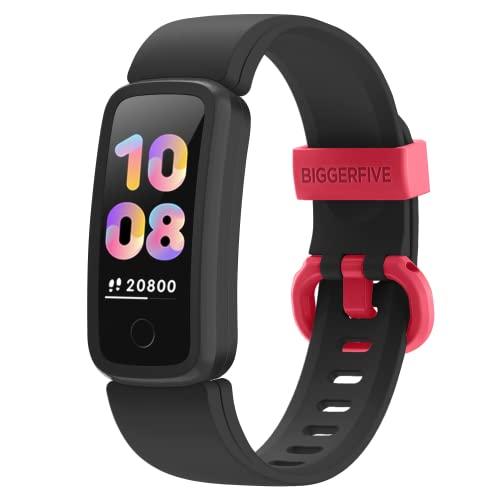 BIGGERFIVE Vigor Fitness Armband Uhr für Kinder Mädchen Junge ab 5-15 Jahren, Fitness Tracker Smartwatch mit Schrittzähler Pulsuhr Kalorienzähler und Schlafmonitor, IP68 Wasserdicht Aktivitätstracker