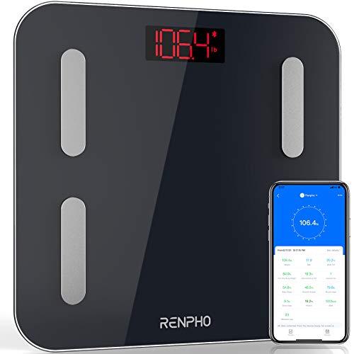 Körperfettwaage, RENPHO Personenwaage mit Körperfett und Muskelmasse, Digital Körperanalysewaage zur Analyse der Körperzusammensetzung, BMI, Muskelmasse, Wasser, Protein