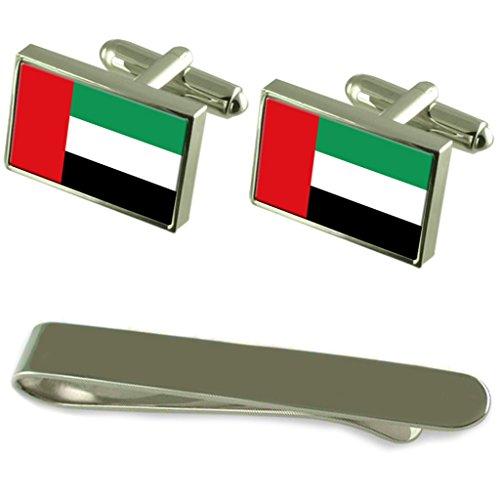 Select Gifts Vereinigte Arabische Emirate Fahne Silber Manschettenknöpfe Krawatten Geschenkset mit Gravur