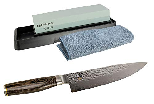 Juego de regalo Kai Shun Premier Tim Mälzer TDM-1706, cuchillo de cocina japonés ultra afilado de 32 capas de acero de damasco | + piedra de afilar Kai AP-0305 | + gamuza de limpieza premium