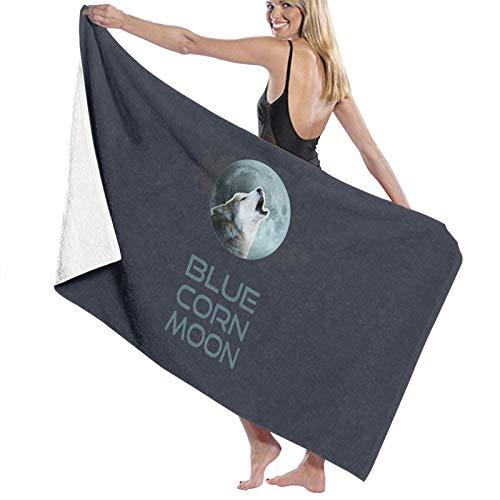 U/K Toalla de baño con diseño de luna, color azul