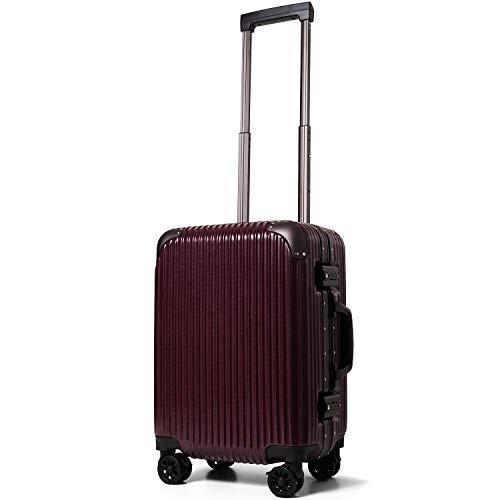 [PROEVO/プロエボ] スーツケース フレームキャリー Sサイズ 機内持込 機内持ち込み 静音 ダブルキャスター 8輪 軽量 アルミフレーム TSAロック キャリーケース キャリーバッグ サスペンション ストッパー 10040 (ワイン×デニム(mat