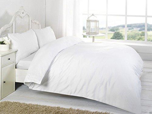 RB Polycotton Parcale Plain Dyed Duvet Cover & 2 Pillow Cases Bed Set (Single, White)