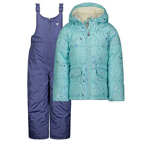 OshKosh B'Gosh Girls' Little Ski Jacket and Snowbib Snowsuit Outfit, Aqua/Stars, 6X