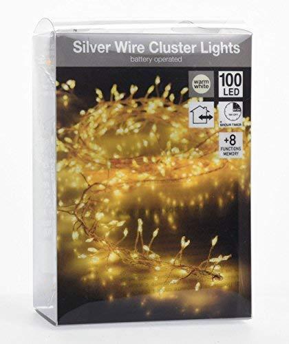Cluster Lichterkette 1m - 100 LED warmweiß - Innen/Außen - Leuchtdraht mit 8 Funktionen + Timer