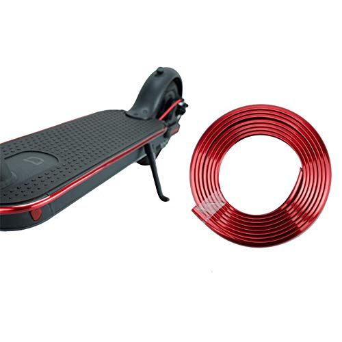 Linghuang Tira anticolisión Franja de protección de colisión para Scooter Xiaomi Mijia M365 M187 ES1 ES2 Tira de Parachoques Protectora y Decorativa de Monopatín Eléctrico (Rojo)