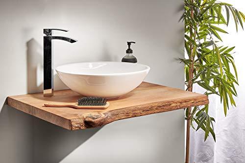 Waschtischplatte Eiche massiv Baumkante geölt Waschtisch Holz (80 x 50 cm)