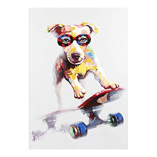Bunte Graffiti Kunst Skateboard Hund Leinwand Malerei Tier Poster und Drucke Wandkunst Bilder für Wohnzimmer Home Decoration No Frame 40x50cm