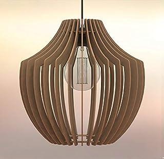 Lampadario Lampada sospensione Paralume rustico moderno in legno - Design Vaso