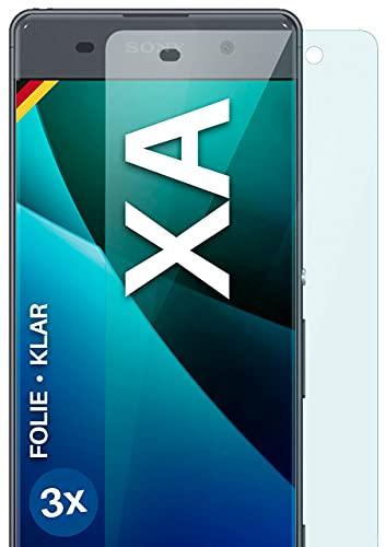 moex Klare Schutzfolie kompatibel mit Sony Xperia XA - Bildschirmfolie kristallklar, HD Bildschirmschutz, dünne Kratzfeste Folie, 3X Stück