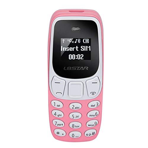 Mini Teléfono Móvil el más pequeño del Mundo con Doble SIM y Cambiador de Voz L8STAR Diminuto Enano (Rosa)