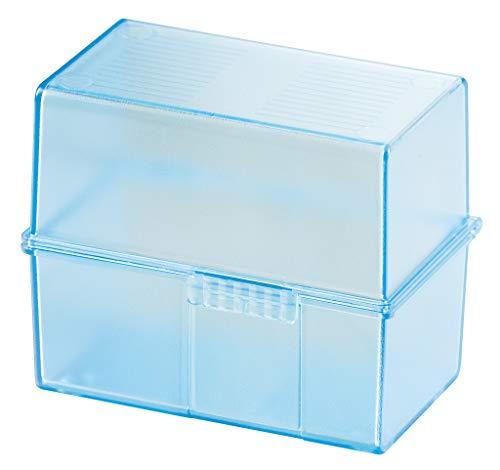 HAN Karteikartenbox DIN A7 977-64 in Transluzent-Blau für 300 Karteikarten im Querformat/Aufbewahrungsbox aus Plastik mit Deckel & Stahlscharnier/Für Schule & Büro