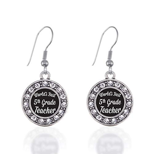 Inspired Silver - World's Best 5th Grade Teacher Charm Earrings for Women - Silver Circle Charm French Hook Drop Earrings with Cubic Zirconia Jewelry