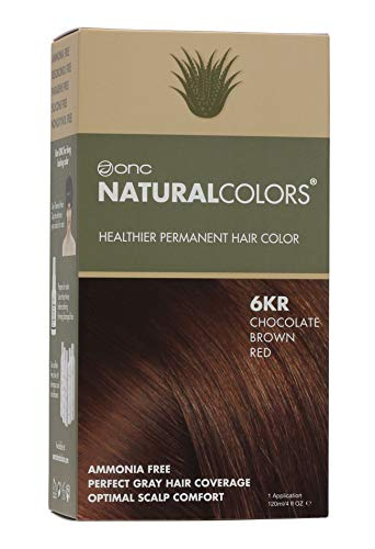 ONC NATURALCOLORS (6KR Chocolate Brown Red) 4 fl. oz. (120 mL) Healthy Permanent Hair Dye with Certified Organic Ingredients, Ammonia Free, Vegan Friendly, 100% Gray Coverage