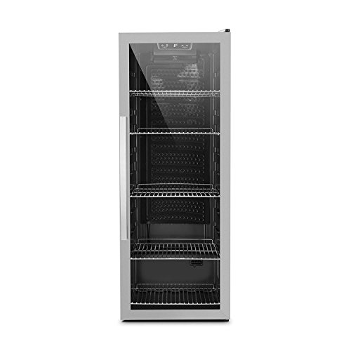Klarstein Beersafe XL - Minibar, Nevera para bebidas, Refrigerador, Silencioso, Puerta de cristal, Iluminación LED, Acero inoxidable, Clase A+, 48 x 129 x 60 cm, Volumen 201 L, Negro