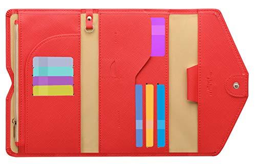 Zoppen Ver. 4 Reiseetui, RFID-blockierend, Ausweis, Reisepass, dreifach faltbar, Dokumenthalter, #9 Raspberry Red (Rot) - TG001