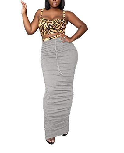 AiChao Womens Pencil High Waist Fold Slim Sexy Bodycon Maxi Skirts,Grey,Medium