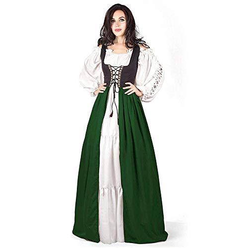 B/H Vestido de época Medieval,Vestido de Corte de Cintura Medieval con Cordones Renacimiento Medieval-Verde_M,Elegante Vestido Noche de Estilo Medieval