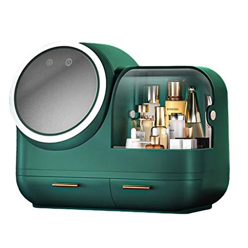 Espejo De Maquillaje De Escritorio con Luz Caja De Almacenamiento De Belleza Multifunción con Relleno De Luz De Escritorio Espejo De Maquillaje Femenino para Dormitorio En Casa Cajón Multifunción