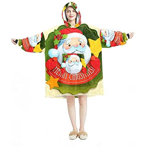 Sudadera con capucha de gran tamaño, manta de franela sherpa, con bolsillo para adultos, hombres, mujeres, Navidad, Papá Noel, Multicolor 01, talla única grande