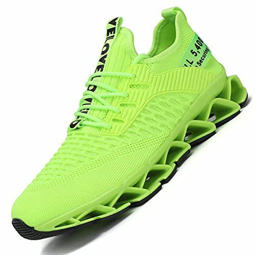 Chopben Men#039s Running Shoes Blade Non Slip Fashion Sneakers Breathable Mesh Casual Athletic Lightweight Walking Shoes Green 12