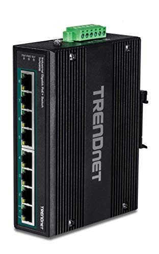 TRENDnet 8-Port Hardened Industrial Unmanaged Gigabit 10/100/1000Mbps DIN-Rail Switch w/ 8 x Gigabit PoE+ Ports, TI-PG80B, 24 – 56V DC Power inputs with Overload Protection